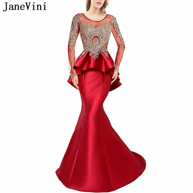 a9c8347b26a JaneVini Elegant Red Prom Dress Scoop Neck Gold Appliques Beaded Backless  Satin Dresses Long Sleeves Mermaid