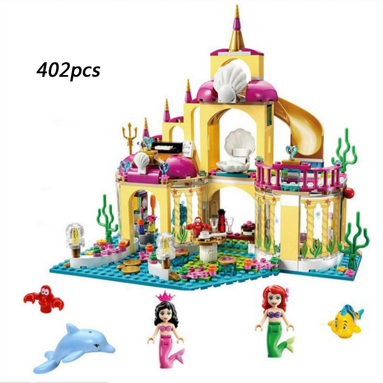 Hot Fairy tale princess building block seabed palace model bricks The little mermaid figures bricks 41063 toys for girls gifts the tale of little pig robinson