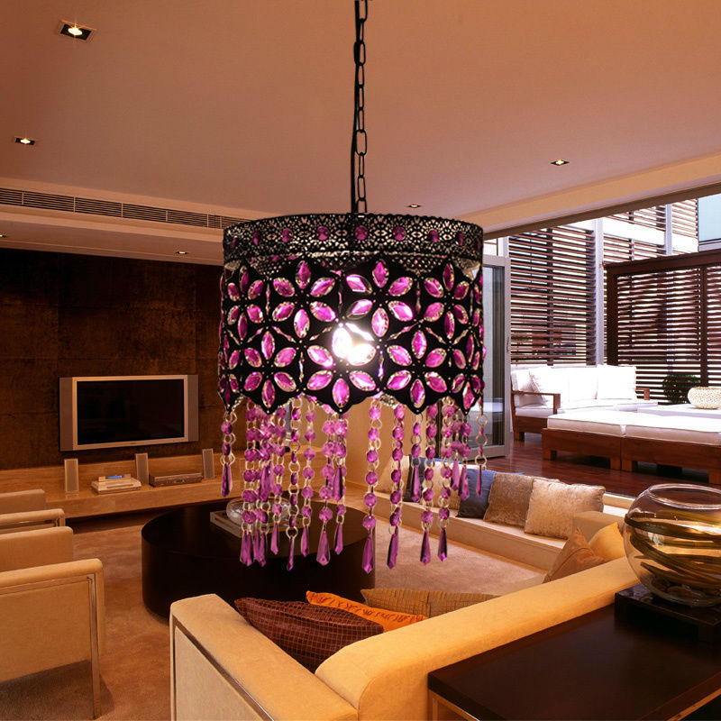 Purple acrylic gem pastoral chandelier lamp living room dining room bedroom lamp lighting lamps for children D-12 korean princess wrought lamp iron bedroom led lamp american pastoral style living room children chandelier