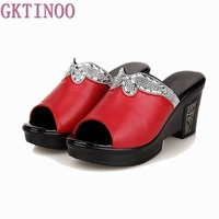 2017 New Sandals Women Genuine Leather Sandals Thick Heel Slippers Woman Platform Wedges Summer Shoes Pumps