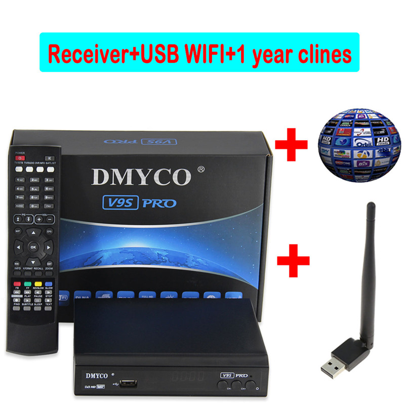 цена на 1 Year Europe 7 Clines Server dvb-s2 tv receptor V9S PRO Satellite Receiver+USB WIFI support IPTV Youtube Youporn 1080P Full HD