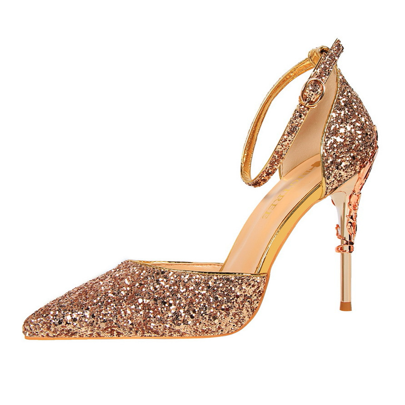46800fb2a165 Fashion Women Party Shoes 10CM High Heels Champagne Glitter Shoes Sexy  Pointe Shoes Women Small Size High Heels Pumps