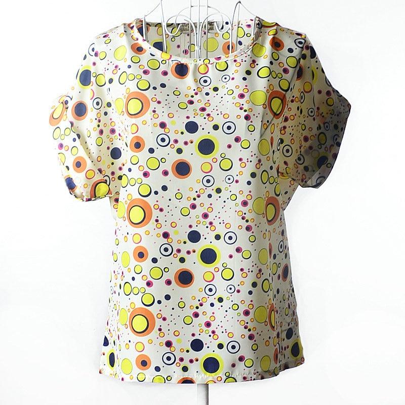 2017 New Womens Fashion Short Sleeve Tops Womens Clothing Summer Casual Aestheticism Print Tee Shirt Chiffon Elegance Shirt 04