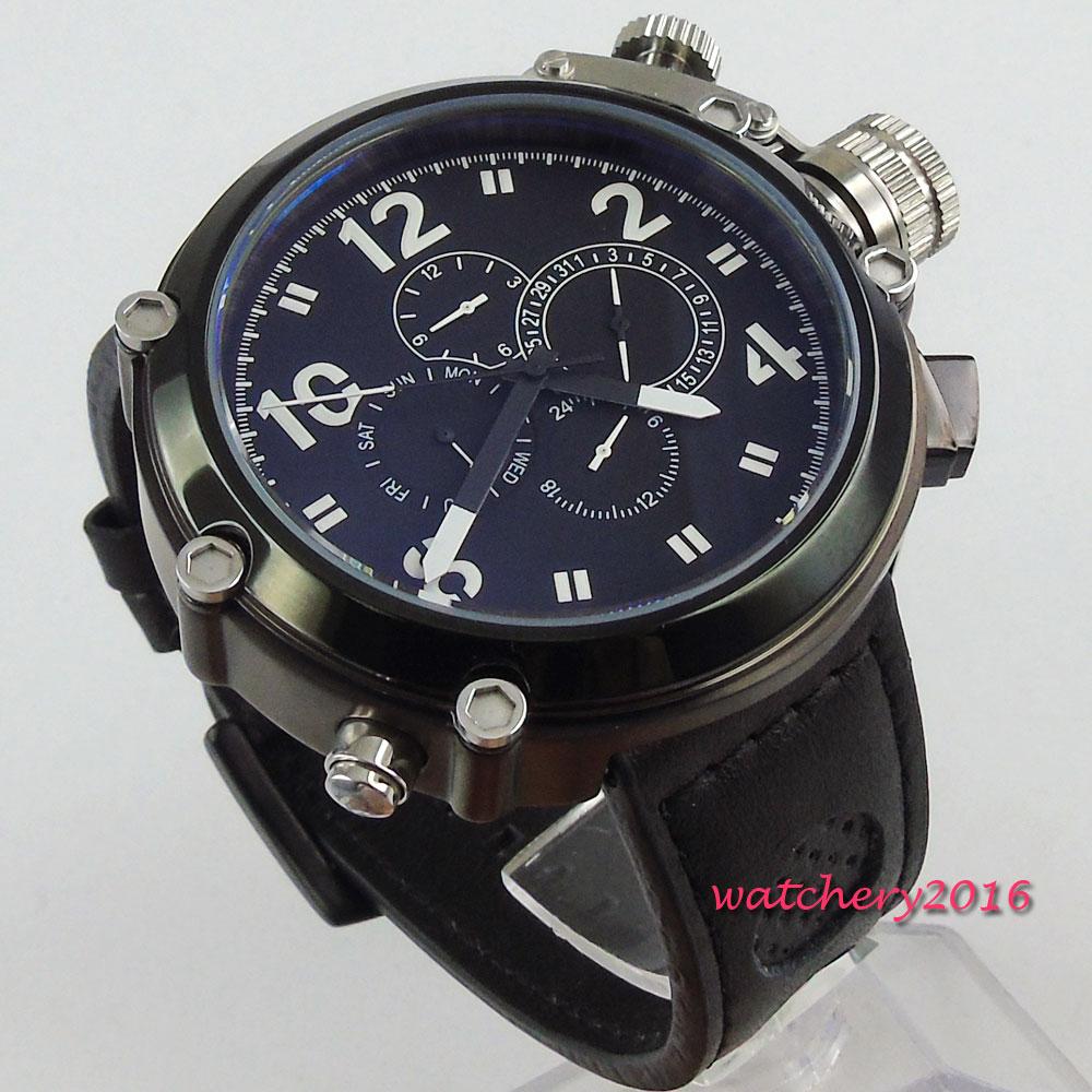 50 ملليمتر parnis الأسود الهاتفي PVD المغلفة SS كبيرة الوجه تاريخ التلقائية الميكانيكية ساعة رجالي-في الساعات الميكانيكية من ساعات اليد على  مجموعة 1