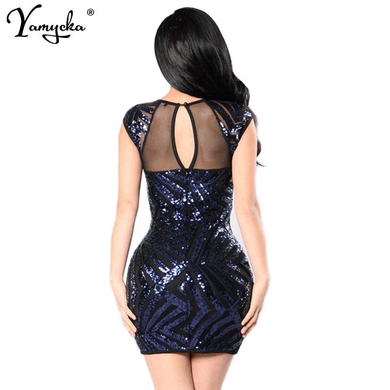 2018 Summer Gold Black Sequins Dress Women Sexy Mesh See Through Backless Woman Slim Vintage Luxury Club Party Dresses Vestidos in Dresses from Women 39 s Clothing