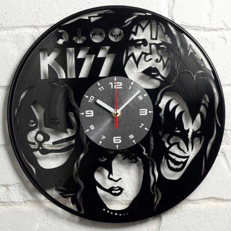 KISS Rock Band  Record Clock Vinyl Record Material Classic Artistic CD Wall Clock Gift For KISS Fans Creative Wall Clock