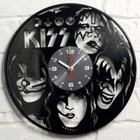 KISS Rock Band Record Clock Vinyl Record Material Classic Artistic CD Wall Clock Gift for KISS Fans Creative Wall Clock