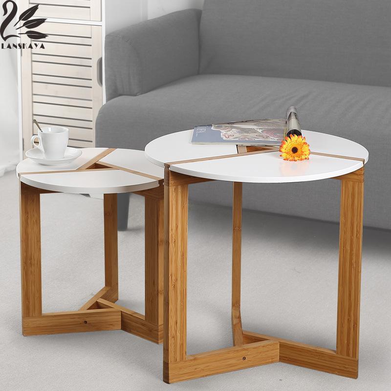 Lanskaya Modern Bamboo Side Living Room Sofa Tea Home Wooden Coffee Table Furniture  Bedroom