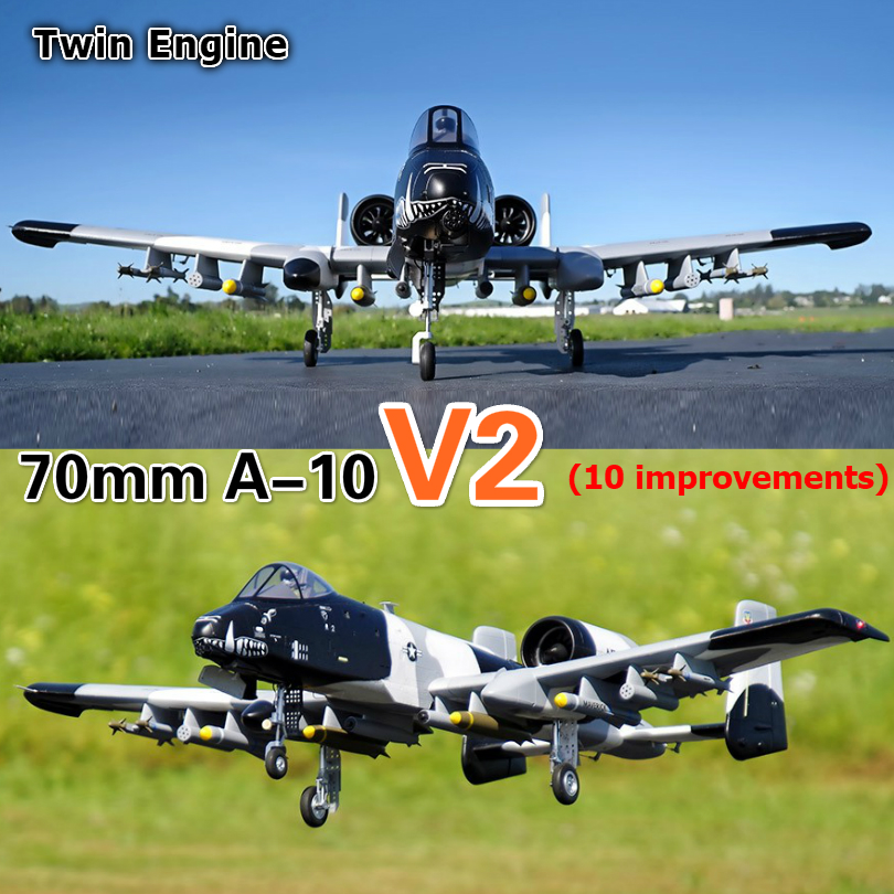 FMS 70mm Ducted Fan EDF Jet A-10 A10 V2 Twin Engine with Gyro 6CH 6S EPO PNP RC Airplane Model Hobby Plane Aircraft Avion EPO image