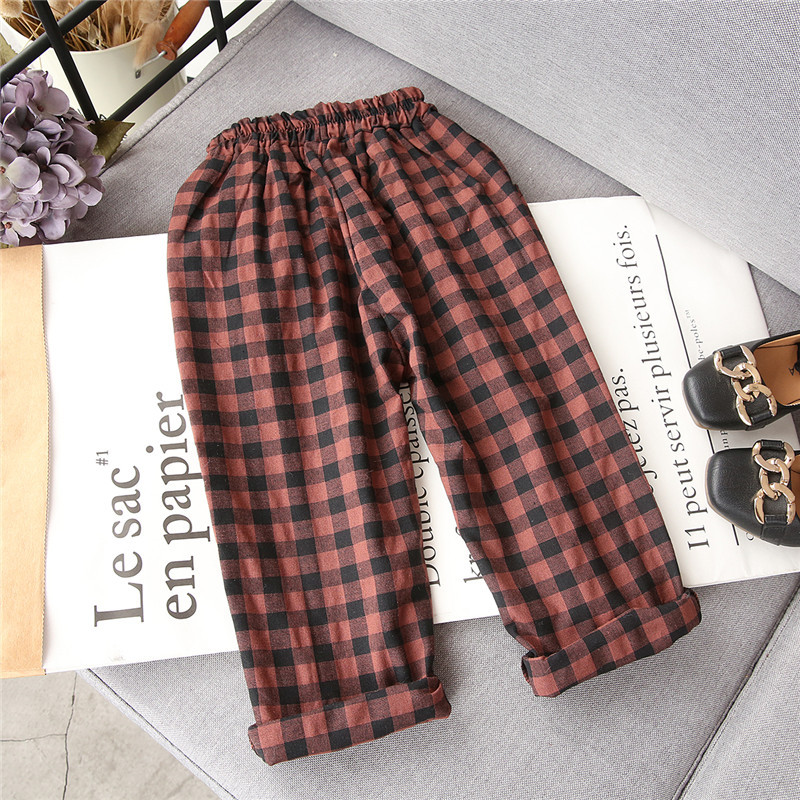 2018 Spring Girls And Boys Fashion Loose Straight Elastic Waist Plaid Cotton Pants Kids Children Casual Wholesale Long Trousers jiqiuguer women solid cotton wide leg embroidery pants vintage stretch jeans elastic waist loose casual spring trousers g182k004
