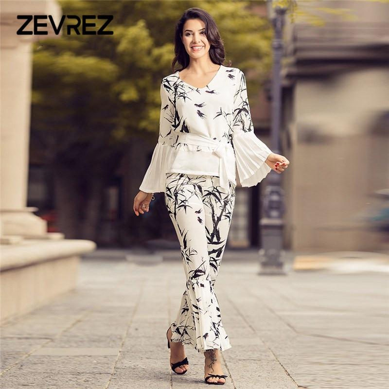 2018 Summer Two Piece Set Women Elegant V neck Shirts +Full Length Wide Leg Belt Pants Sets Printing Party Women'Suit Zevrez