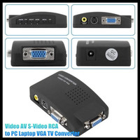 HD 1080P PC Laptop Composite Video TV RCA Composite S-Video AV In To PC VGA LCD Out Converter Adapter Switch Box Black