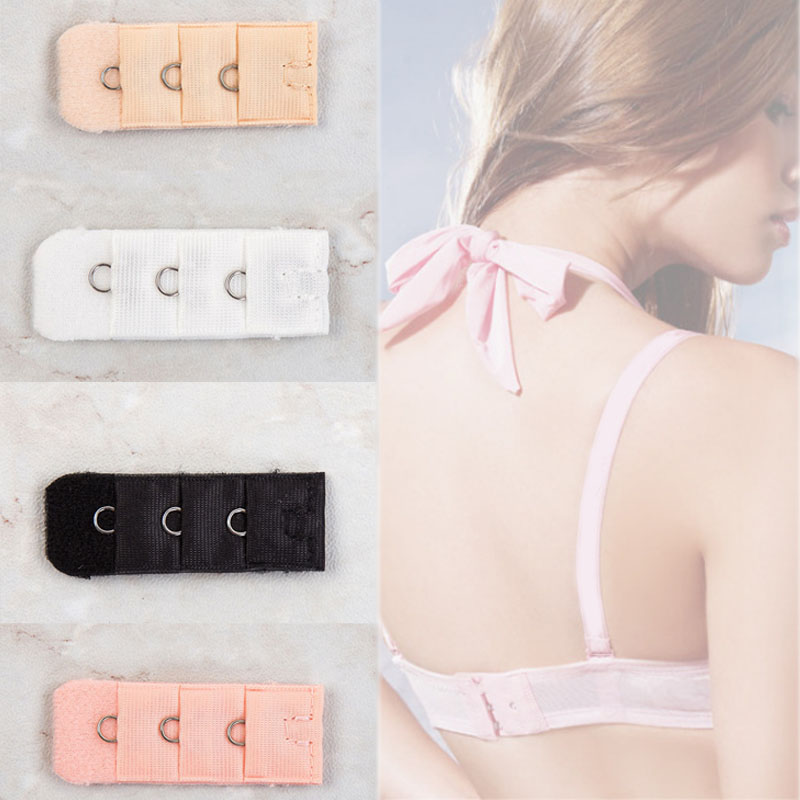 4 Colors Hot Sale Ladies 1 Rows 3 Hooks Bra Extender Nylon Clasp Extension Elastic On Strap Soft Bra Band 1PC Free Shipping