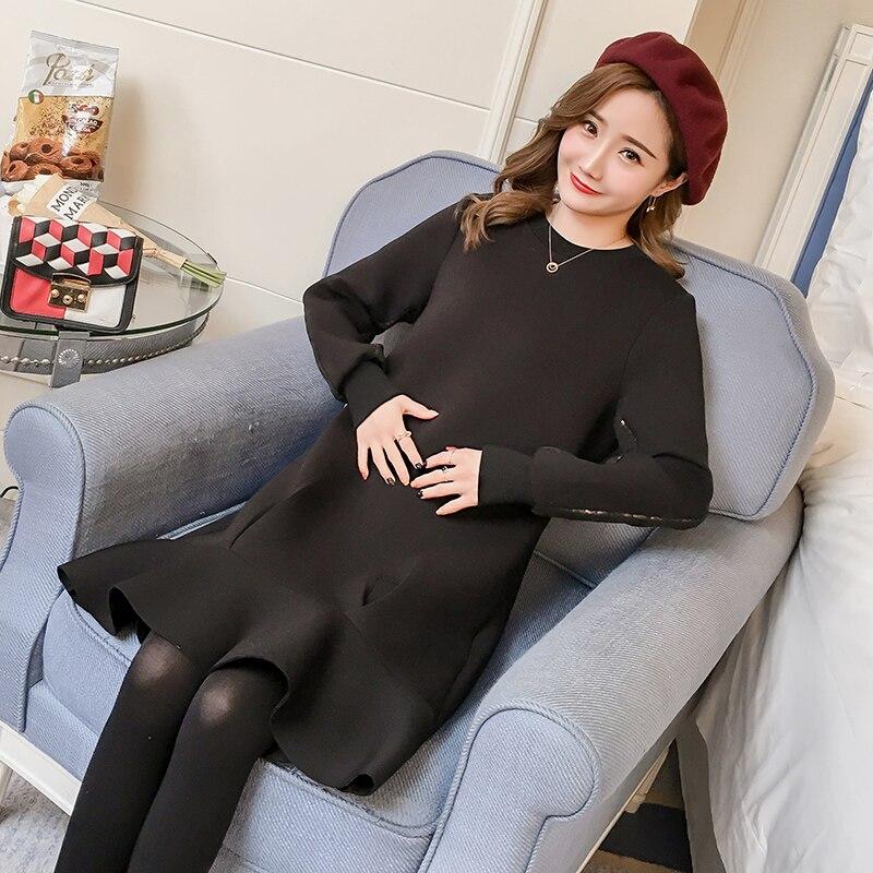 Autumn Sequins Trumpet Dress Plus Size Loose Black Foam Cotton Dresses for Pregnancy  Maternity Fashion Clothes Pregnancy M XXL-in Dresses from Mother   Kids ... 31641f2e3dcc