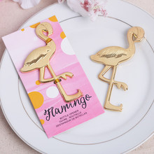 Golden Flamingos Hawaiian Wedding favors and gifts for bridesmaid guests groomsmen personalized eventail mariage Bottle opener5(China)