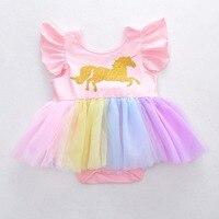 2018 unicornio Mamelucos bebé infantil Niñas tutú falda jumpsuit verano ropa de bebé recién nacido h990