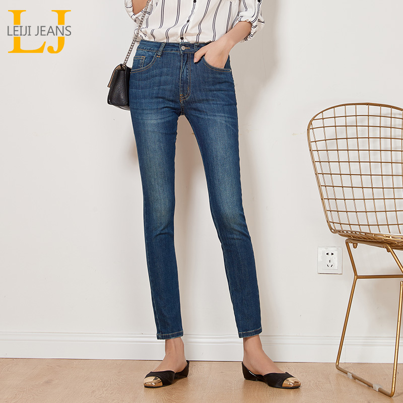 LEIJIJEANS New Autumn Casual Style Dark Blue Mid Waist Full Length Bleached Plus Size L Skinny Pencil Elastic   Jeans   Women 7268