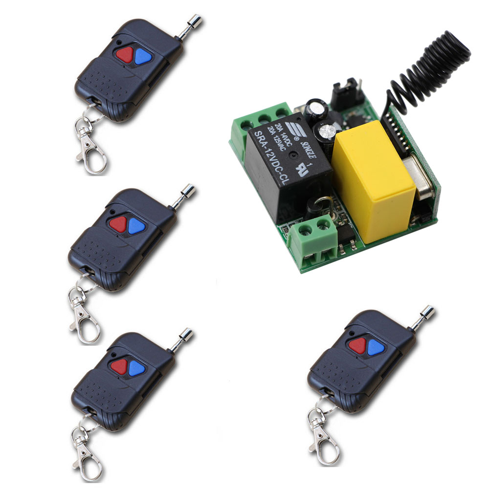 New AC220V 10A Relay 1CH RF Remote Control Switch System 4X Transmitter + 1 X Mini Receiver with Black Case In Stock 315Mhz ac220v 1ch 10a rf wireless remote control switch system teleswitch 1 transmitter