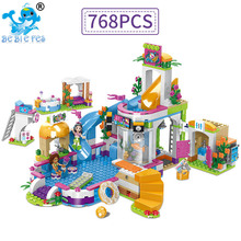 2019 The Heart lake city Summer Pool Friends Building Blocks Bricks Figure Toys Compatible with legoergy Friends for children waz compatible with lego friends 41150 25003 322pcs building blocks moana s ocean voyage bricks figure toys for children