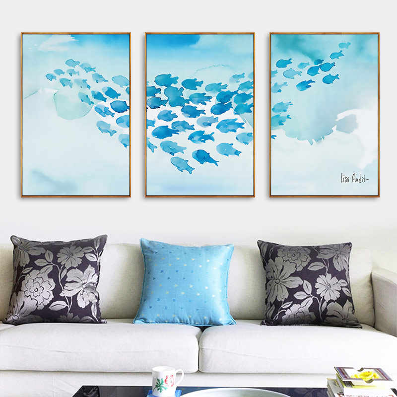 Nordic Blue Coral Fish Ocean Poster Modern Canvas Watercolor Paintings Wall Art Print Pictures For Office Living Room Home Decor
