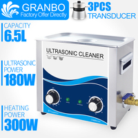 Granbo 6Liter Ultrasonic Cleaner 180W Bath Mechanical Heater Timer Cleaning Machine PCB Bullets Baby Toy Car Chains Hardware