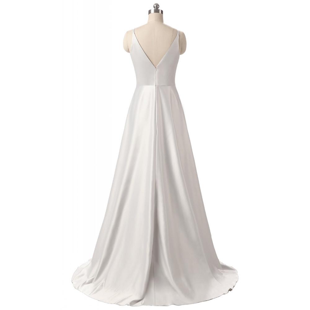 Elegant V-Neck Pleat Satin Long Evening Dress 6