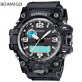 men sports watches dual display analog digital LED Electronic black quartz watches BOAMIGO brand 50M swimming waterproof watch