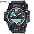 Hombres deportes relojes dual display analógico digital LED Electrónico relojes de cuarzo negro BOAMIGO marca 50 M natación impermeable del reloj