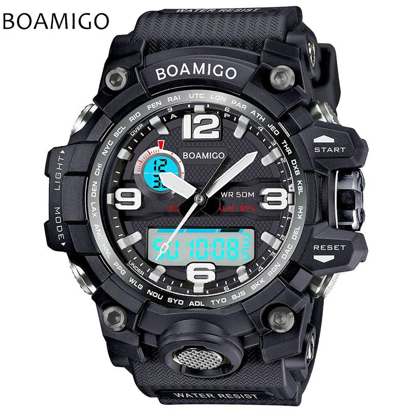 Prix pour Hommes montres de sport double affichage analogique numérique LED Électronique noir montres à quartz BOAMIGO marque 50 M de natation montre étanche
