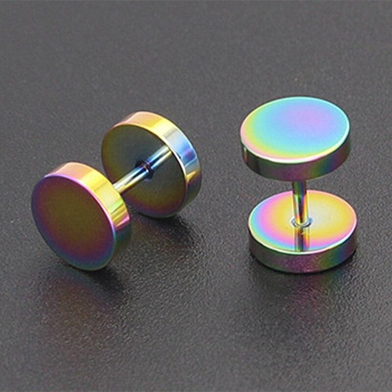 1 пара высокое качество вакуумной покрытие многоцветный Титан стали предотвратить аллергия чистый круговой штангой Гантели Серьги