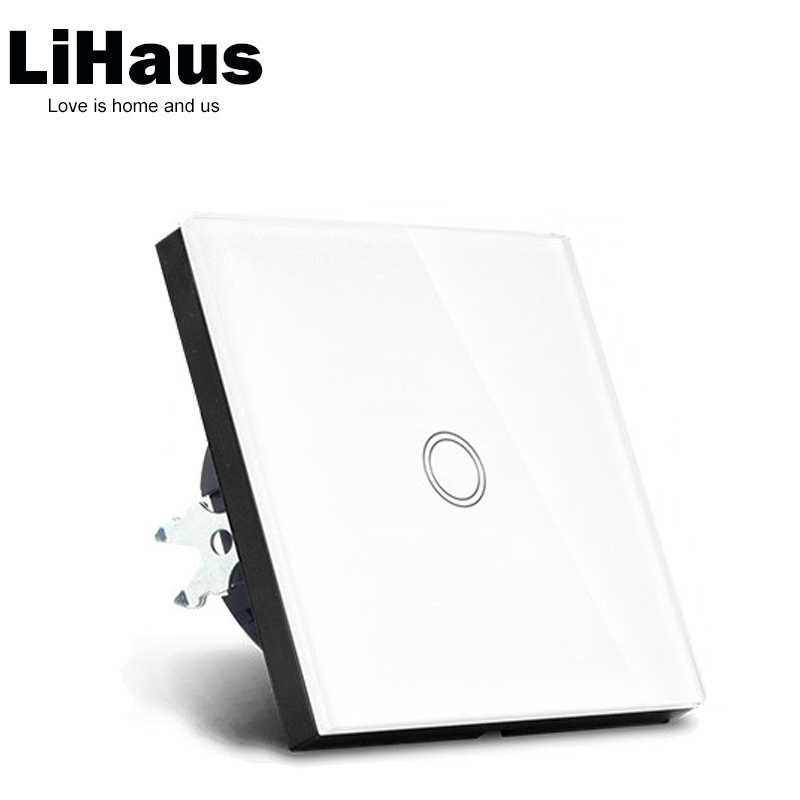 EU standard Crystal Glass Touch Switch and 1 Gang 1 Way  wall switch smart home eu touch switch wireless remote control wall touch switch 3 gang 1 way white crystal glass panel waterproof power
