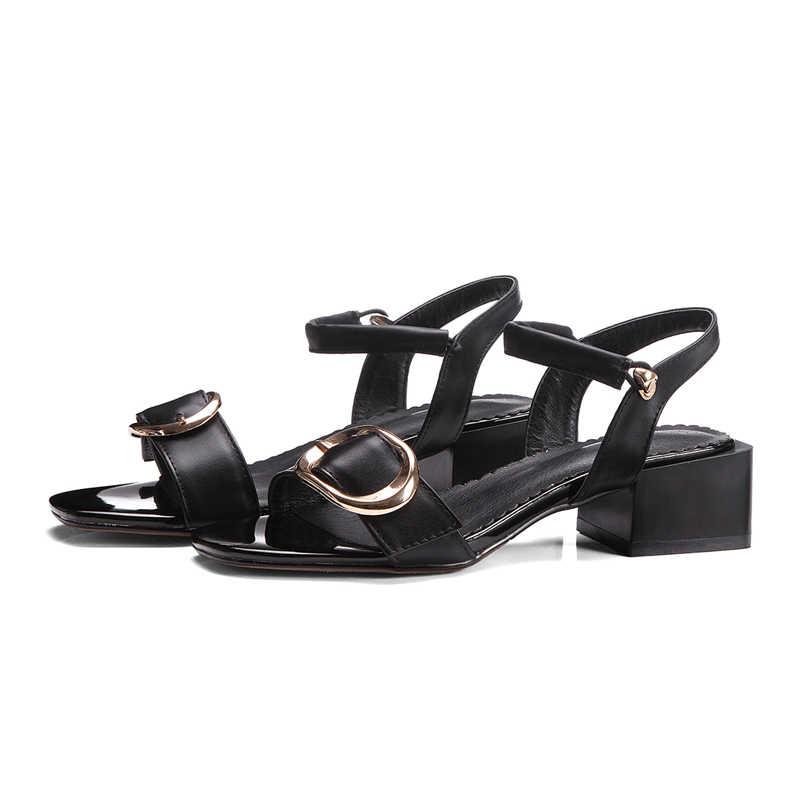 Karinluna 2018 סיטונאי מותג פרה אמיתי עור הטוב ביותר באיכות קיץ סנדלי נעלי נשים גודל גדול 33-43 נעלי מפלגה אישה