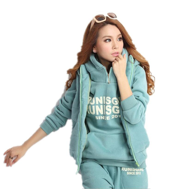 Casual Wear Solid New Style Women 3pcs Suit Winter Warm Hooded Long Sleeve Thickening Sports Hoodies Sweatshirt Plus Size M-6XL 1