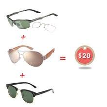 37323fd7fd018 Yok 3 pcs  20 Transparente Aviação Óculos De Sol das Mulheres Dos Homens  Polarizados De Alumínio Militar Óculos de Sol Clip Sobr.
