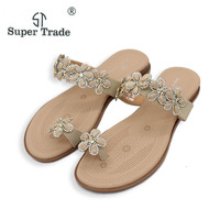 New Arrival 2017 Fashion Bohemia Flower Rhinestone Sandals Woman Shoes Comfort Beach Summer Flat Sandals Flat
