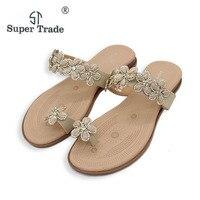 New Arrival 2017 Fashion Bohemia Flower Rhinestone Sandals Woman Shoes Comfort Beach Summer Flat Sandals Flat