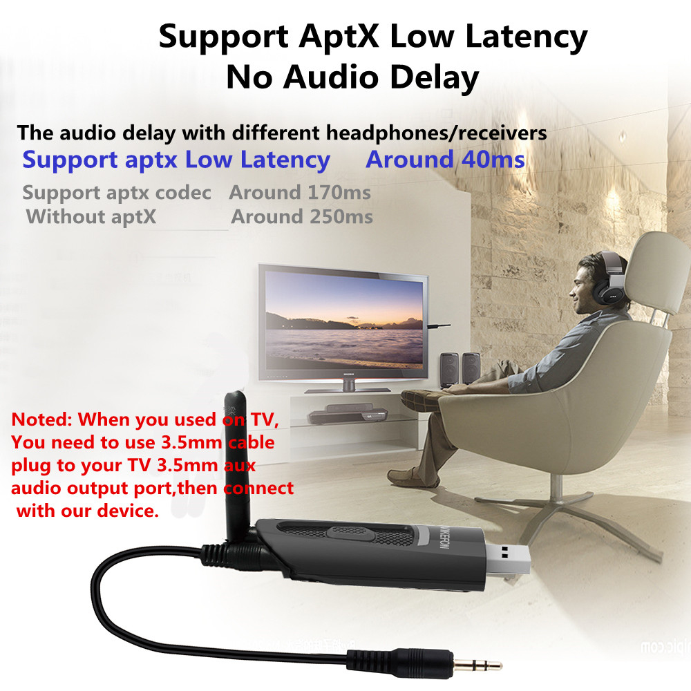 Image 3 - aptX Low Latency LONG RANGE APTX LL USB Bluetooth 5.0 Transmitter For TV Wireless USB /3.5mm AUX/2 RCA Audio Adapter for PS4 PC-in Wireless Adapter from Consumer Electronics