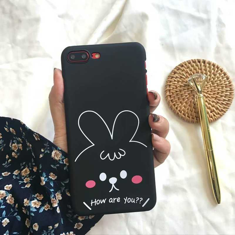 Funda encantadora de conejo Ber para iphone 8 plus Funda de lujo para mujeres Funda de dibujos animados dura para iphone 6 6 s 6s 7 8 plus Funda cubierta