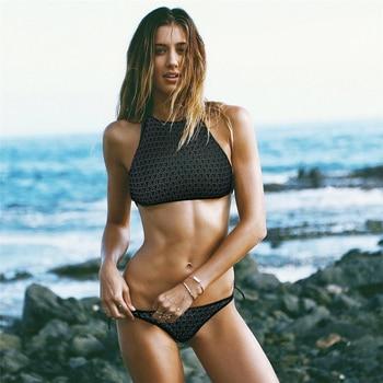 67f24076f026 Pacento Bikinis Set nuevo Sexy Bikini de cintura alta 2018 terciopelo  Bikini Top acolchado trajes de ...