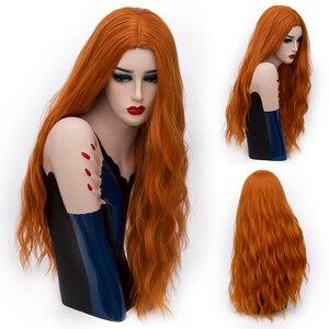 Image 2 - MSIWIGS 70 センチメートルロングピンク波状のかつらコスプレ合成女性のブロンドかつら 29 色耐熱毛