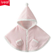 IYEAL Toddler Baby Kids Girls Fleece Warm Cloak Cotton Long Sleeve Pocket Jacket Coat for Children Winter Outerwear недорого