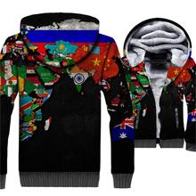 Funny 3D Black World Map Sweatshirts Streetwear Unisex Hoodie Harajuku Thick Zipper Jackets For Men 2018 Fashion Winter Clothing