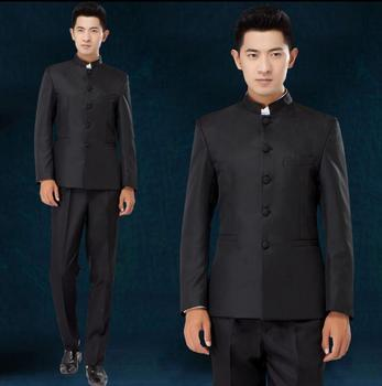 Singer dance stage clothing for men chinese tunic suit set with pants mens wedding suits groom formal dress black stand collar