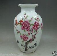 Chiński Stary Kolekcje Wiersze Porcelany Ręcznie Piwonia Kwiat I Ptak's Wazon