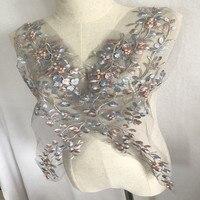 SASKIA вышитые бисером нашивки цветок сетки вышитые ткани аппликация кружево в африканском стиле пришить свадебное платье заплатка для одежд...
