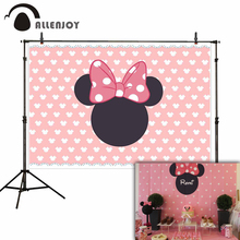 Allenjoy photographic background Pink princess mouse bow cute birthday backgrounds for photo studio fantasy photography props