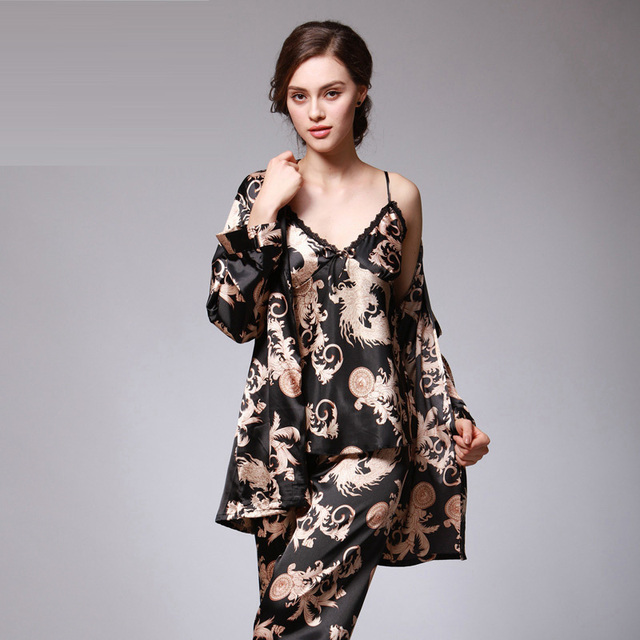 Sexy V Neck Silk Pajamas set Nightwear