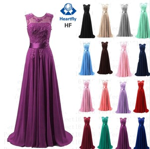 Image 1 - ANGELSBRIDEP Sheer Neck Chiffon Bridesmaid Dresses Long Robe Demoiselle Dhonneur Applique Floor Length Formal Party Dresses