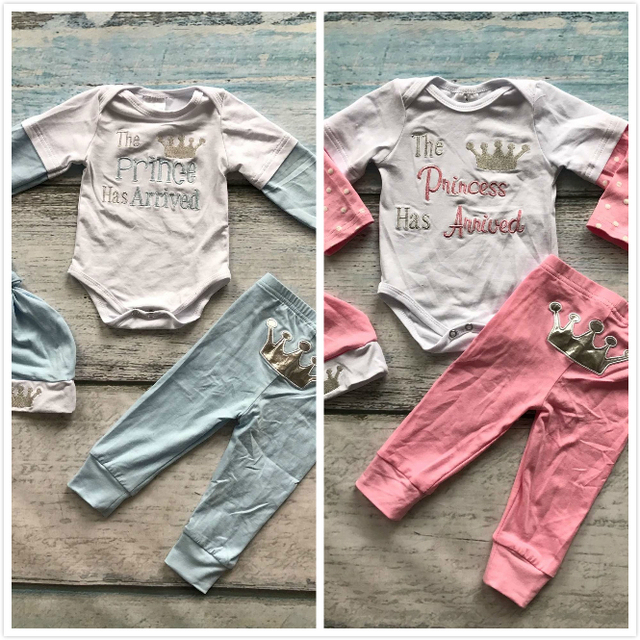 2-colors baby girls boys boutique infant clothing cotton tutu light blue pink princess prince crown romper with matching cat set