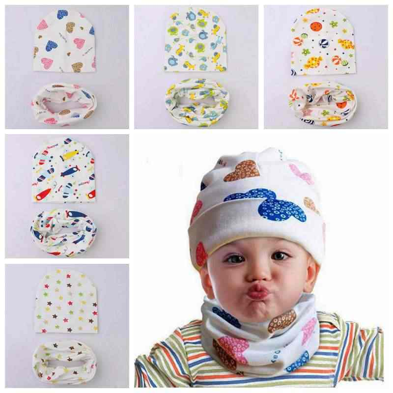 1 Conjunto primavera otoño bebé sombrero de algodón bebé niño niña tapa  bufanda amor corazón impresión 8fbd7677e20